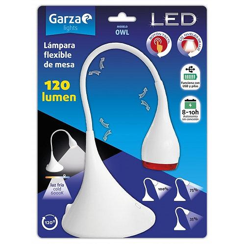 Flexo Lámpara Garza Modelo Owl, LED Flexible Sobremesa USB/Pilas 120 lÚmenes