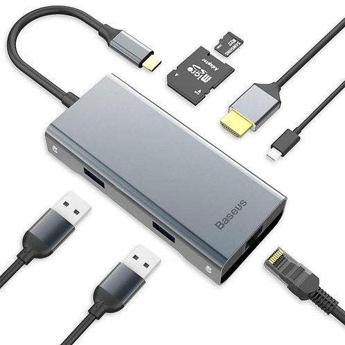 Baseus Versión actualizada de 2019 USB C Hub, USB C a Ethernet Hub Adapter con 4