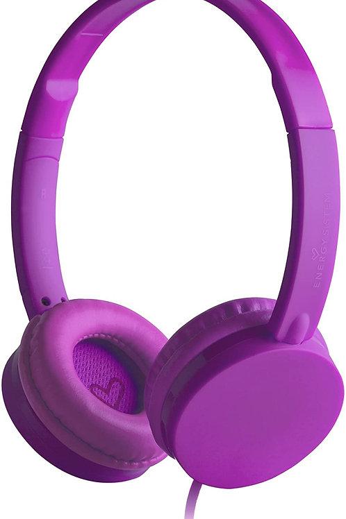 Energy Headphones Colors Grape Mic (ultraligeros y con Cable Plano antienredos)