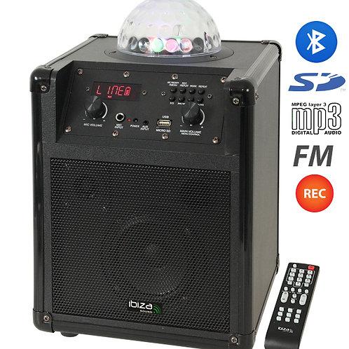 """Altavoz activo de 2x6.5"""" con batería y efecto LED , reproductor USB / Bluetooth"""
