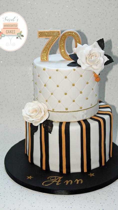 Black and Gold 70th Birthday cake