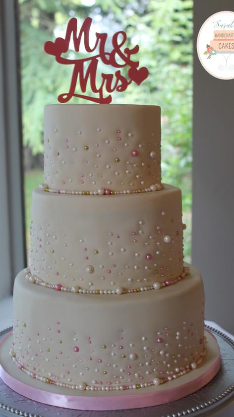 Pink and Ivory wedding cake