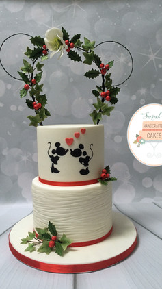 Mickey & Minnie Winter Wedding Cake