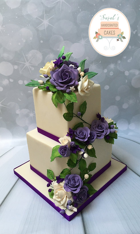 Purple and cream 2 tier square roses.jpg