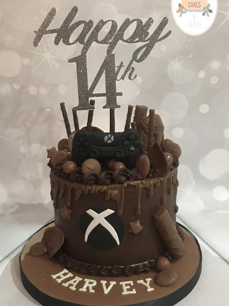 Chocolate overload gamer birthday cake