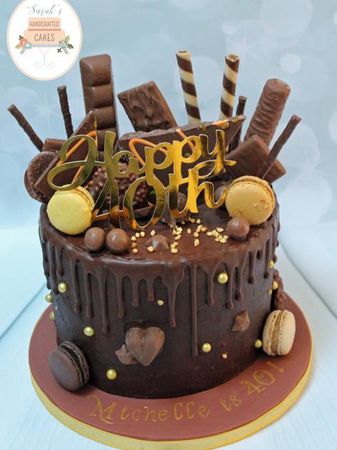 Chocoholic 40th Birthday Cake
