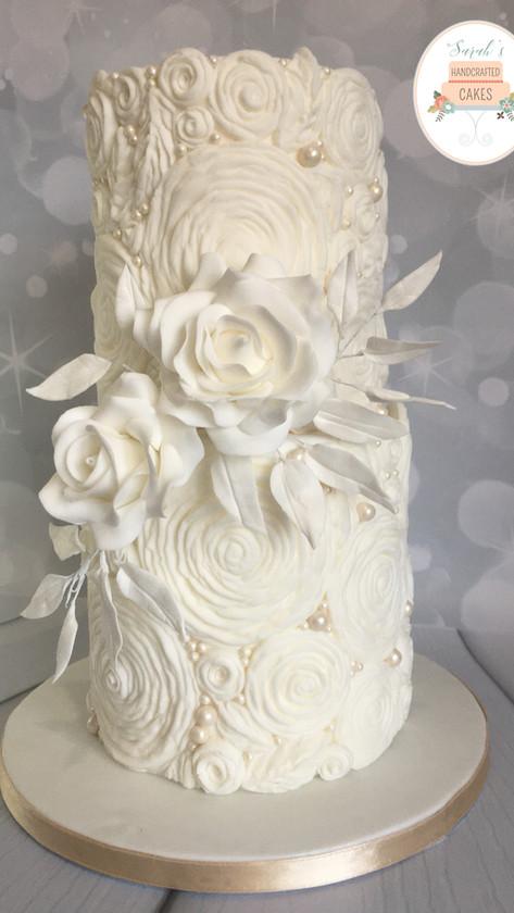 Ruffles and Pearls weddding cake