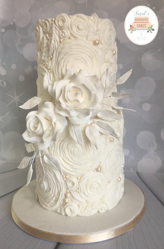 Ruffles & Pearls 2 tier wedding cake.jpg