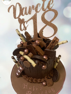 Rose gold chocolate overload 18th birthday cake