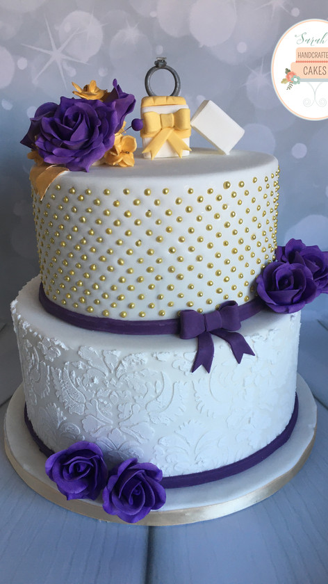 Purple and Gold Engagement cake