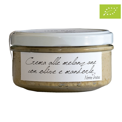 Crema BIOLOGICA alle melanzane con olive e mandorle