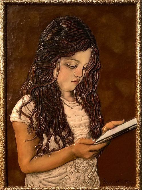La Fanciulla con l' iPad - The Girl with the iPad cm 40 x 55 ( 16 x 22 inch)