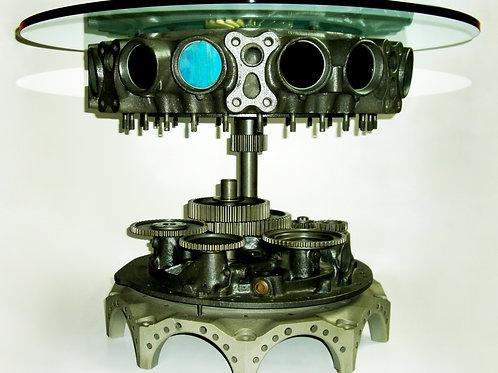 ROBOTABLE  h cm 62, diam cristallo cm 80 x 130 - h 24 inch, diam crystal 31 x 51