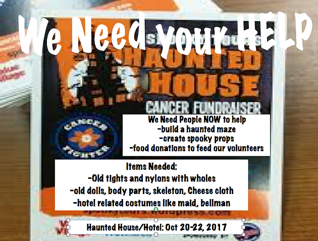 PLEASE HELP Spooky Tours Haunted House Cancer Fundraiser