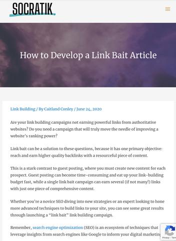 How to Develop a Link Bait Article | Socratik