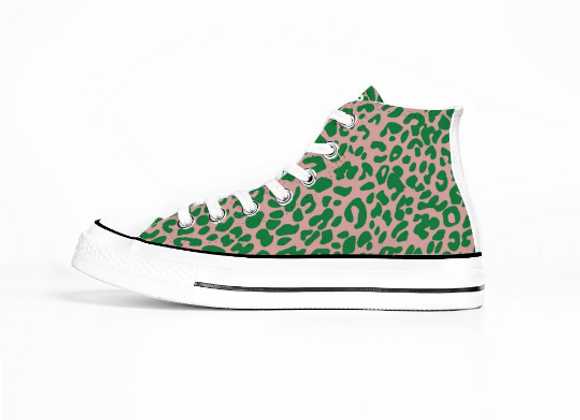Pink and Green (High Top Sneakers)