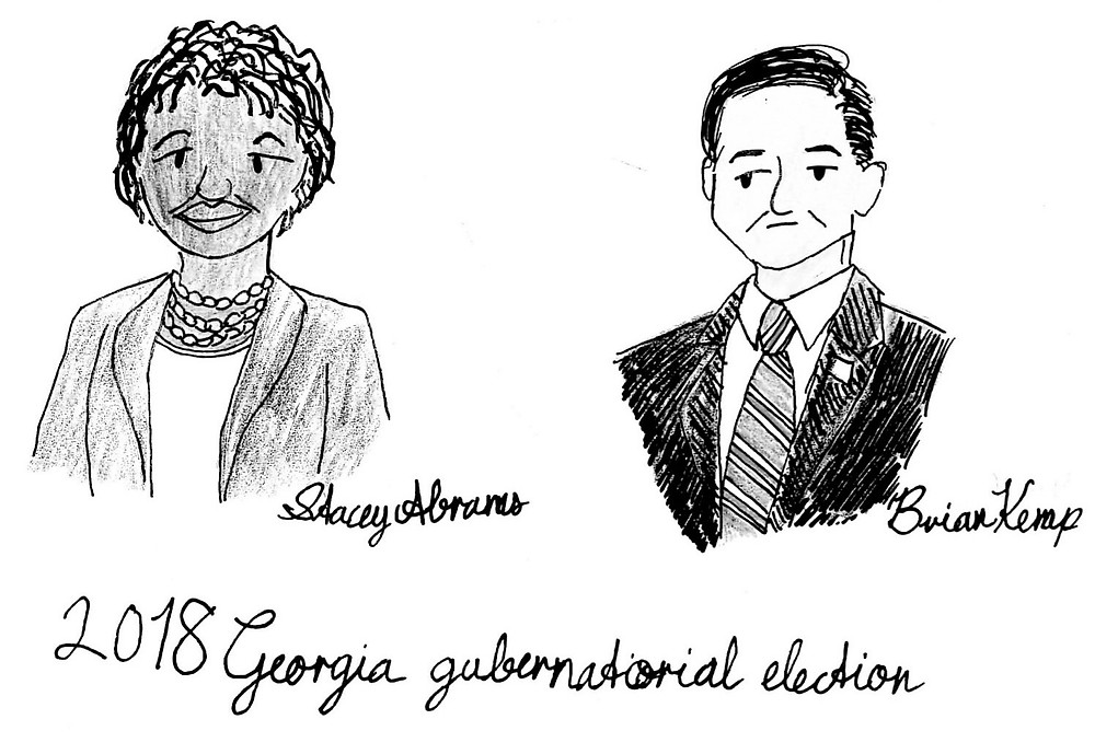 Cartoon of Stacey Abrams and Brian Kemp