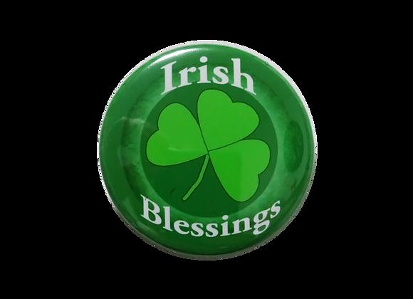 Irish Blessings Green Shamrock Badge Reel Topper