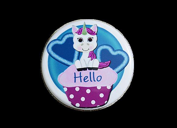 Hello Unicorn on Cupcake Badge Reel Topper