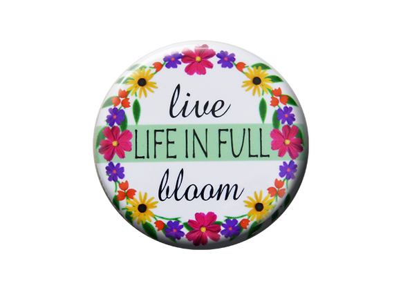 Live Life in Full Bloom Nurse Badge Reel Topper