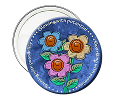 Glowing with potential Sparkling with promise, Shining with possibility pink, yellow, blue flowers graduation button mirror
