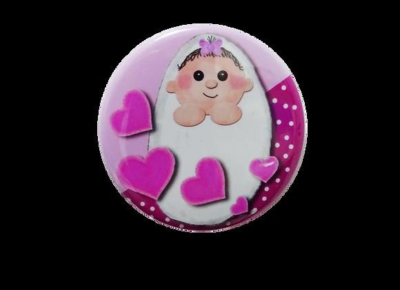 Swaddled Baby Girl Badge Reel Topper