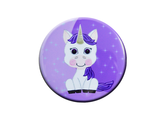 Purple Baby Unicorn Glitter Badge Reel Topper