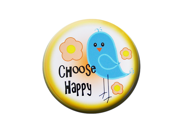 Choose Happy Bluebird Nurse Badge Reel Topper