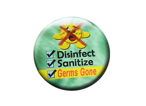 Disinfect Sanitize Germs Gone Cleaning Badge ID Topper