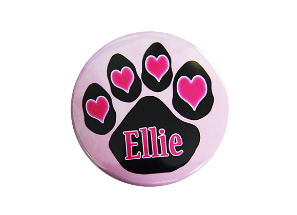 Pink Hearts Dog Paw Print Nurse Badge Reel Topper