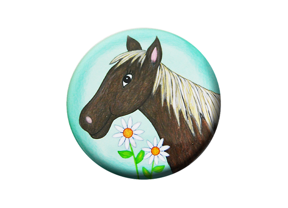Horse and Daisies Badge Reel Topper