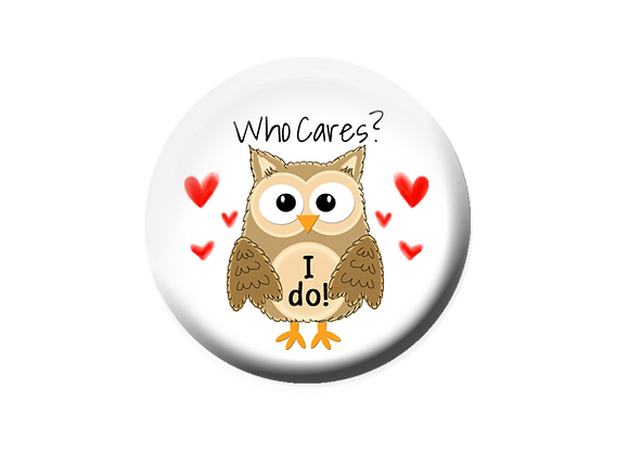 Who Cares Brown Owl Badge Topper Pinback Button Magnet
