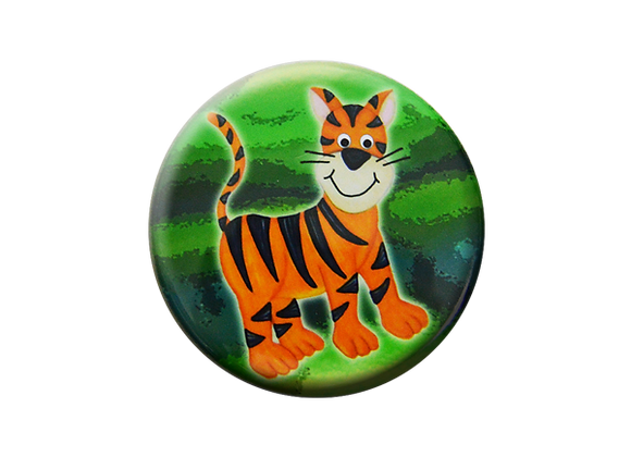 Happy Jungle Tiger Badge Reel Topper