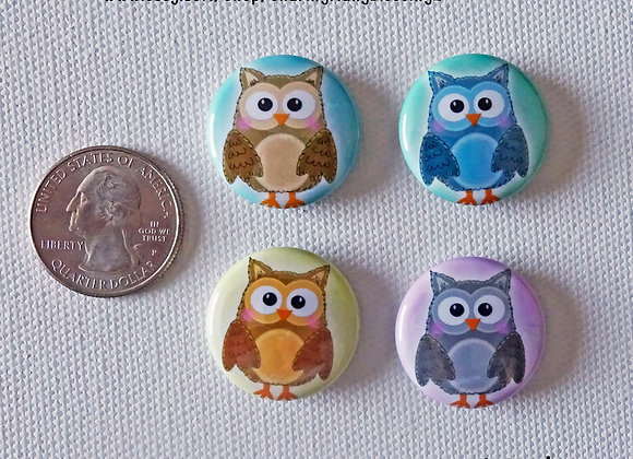 Cute Owl Refrigerator Magnets 1 inch 4 Pack