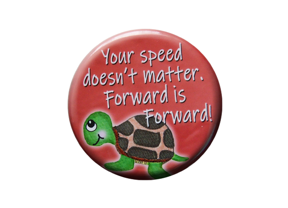 Your Speed Doesn't Matter Coral Badge Reel Topper