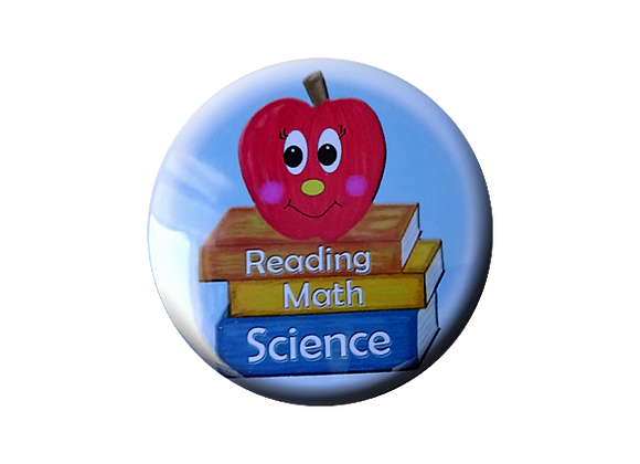 Reading Math Science Apple on Books Teacher Topper