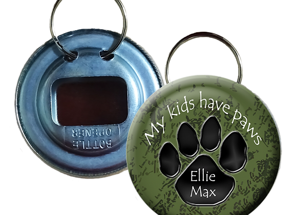 Shades of Green My Kids have Paws Button Bottle Opener