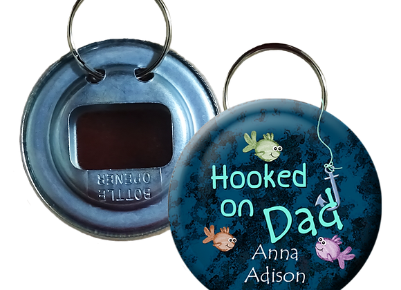 Adorable Hooked on Dad Colorful Fish Button Bottle Opener