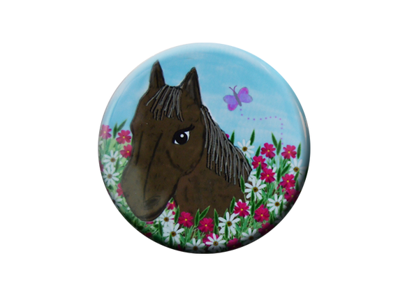 Country Horse in Wildflowers Badge Topper
