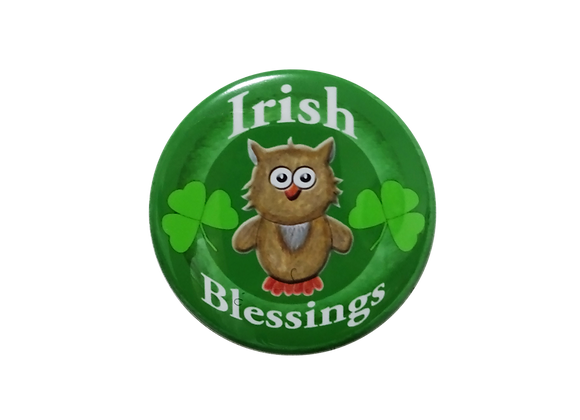 Irish Blessings Shamrock Owl Badge Reel Topper