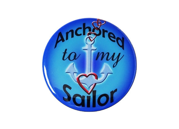 Anchored To My Sailor Badge Reel Topper