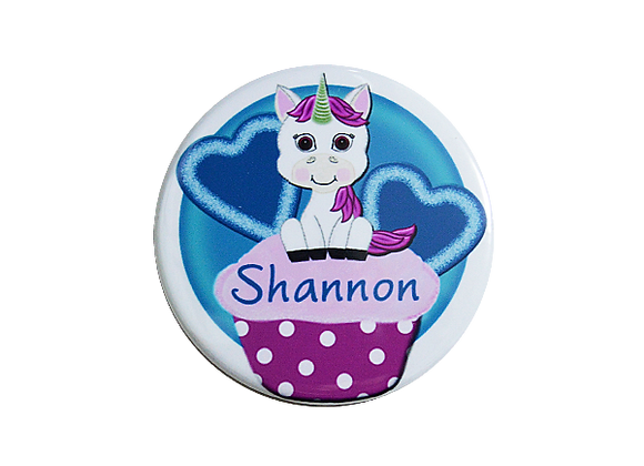 Sweet Pink Unicorn on a Cupcake Name Badge Topper