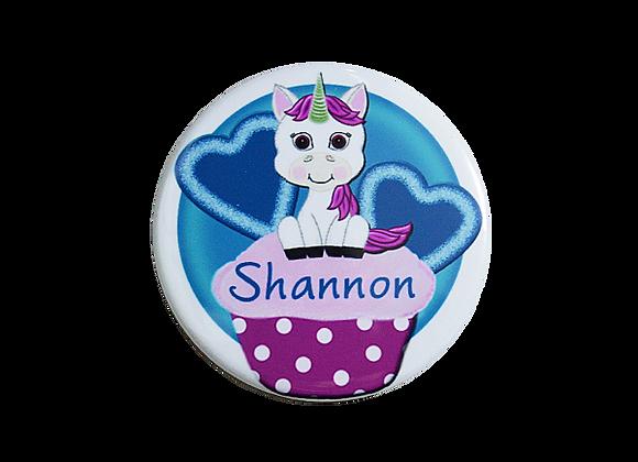 Sweet Pink Unicorn on a Cupcake Name Badge Topper