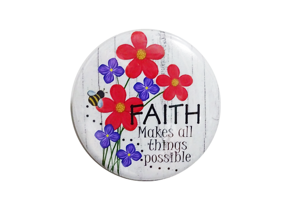 Faith Makes all Things Possible Floral Badge Reel Topper