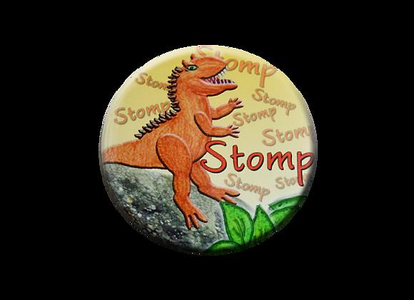 Dinosaur Stomp Badge Reel Topper