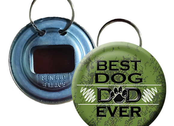 Green Forest Best Dog Dad Ever Button Bottle Opener