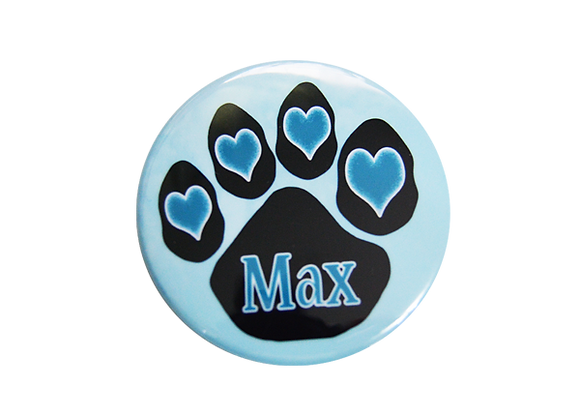Blue Hearts Dog Paw Print Nurse Badge Reel Topper