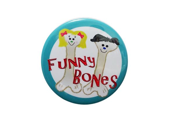 Boy and Girl Funny Bones Pair Badge Reel Topper