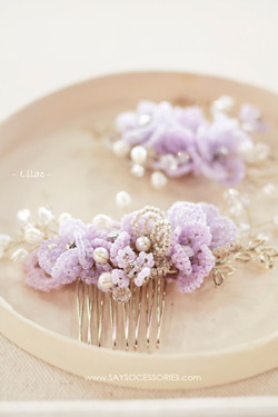 French beaded headpiece, Lilac
