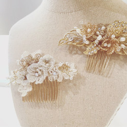 Gold x White Bridal Fascinator